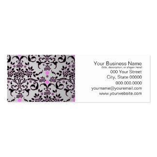 Modelo floral púrpura de plata negro de lujo del d tarjetas de visita mini