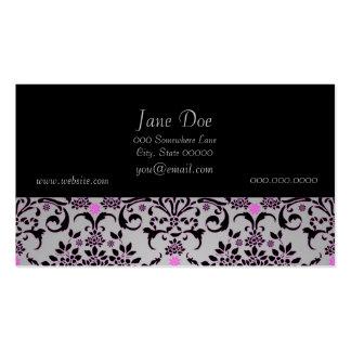 Modelo floral púrpura de plata negro de lujo del d tarjetas de visita