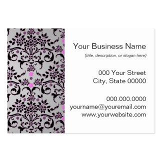 Modelo floral púrpura de plata negro de lujo del d tarjetas de visita grandes