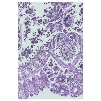 Modelo floral púrpura del cordón papel de seda