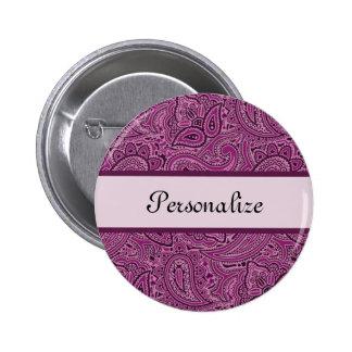 Modelo floral púrpura elegante de Paisley con Pin Redondo De 2 Pulgadas