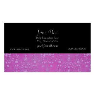 Modelo floral púrpura fucsia del damasco tarjetas de visita