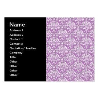 Modelo floral púrpura y blanco de la lila del dama tarjetas de visita grandes