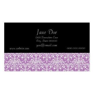 Modelo floral púrpura y blanco de la lila del dama tarjetas de visita
