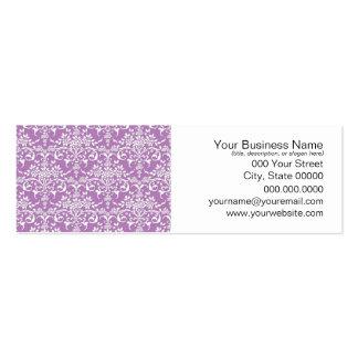 Modelo floral púrpura y blanco de la lila del dama tarjetas de visita mini