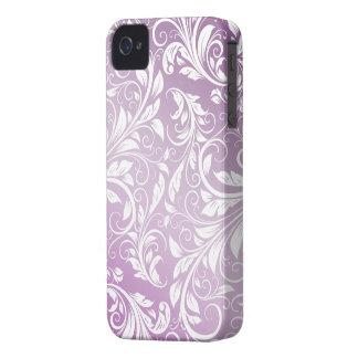 Modelo floral púrpura y blanco del cardo del damas iPhone 4 funda