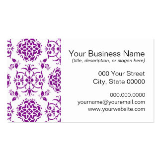 Modelo floral púrpura y blanco del estilo del tarjetas de visita