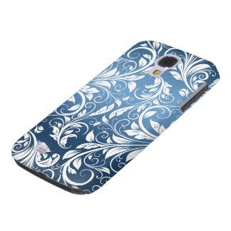 Modelo floral real del azul y blanco del damasco