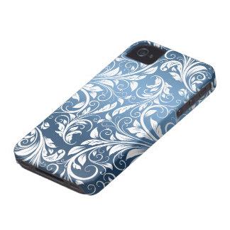 Modelo floral real del azul y blanco del damasco iPhone 4 Case-Mate fundas