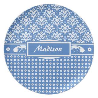 Modelo floral retro azul y blanco fresco del damas plato para fiesta