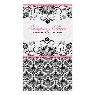 Modelo floral retro rosado y blanco negro de los d plantillas de tarjetas de visita