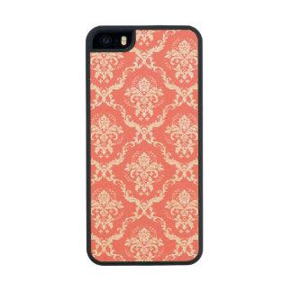 Modelo floral rojo coral y blanco de los damascos funda de arce carved® para iPhone 5 slim