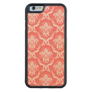 Modelo floral rojo coral y blanco de los damascos funda de iPhone 6 bumper arce