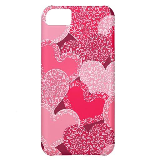 Modelo floral rojo de los corazones funda para iPhone 5C