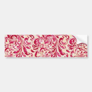Modelo floral rojo del damasco del vintage pegatina para auto