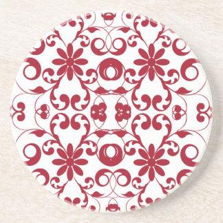 Modelo floral rojo del vintage del nouveau del art posavasos para bebidas