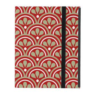 Modelo floral rojo y de color caqui del art déco