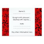 Modelo floral rojo y negro brillante invitación 8,9 x 12,7 cm