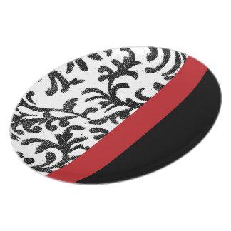 Modelo floral rojo y negro del damasco platos de comidas