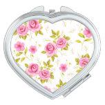 Modelo floral romántico del blanco del rosa de ros espejo de maquillaje