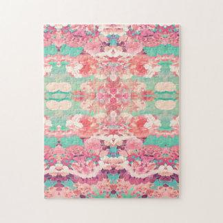 Modelo floral rosado del caleidoscopio de la moda rompecabeza con fotos