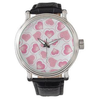 Modelo floral rosado del corazón reloj de mano