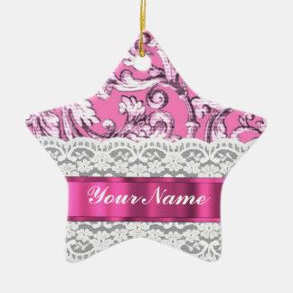 Modelo floral rosado del cordón adorno de cerámica en forma de estrella