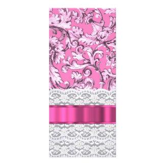 Modelo floral rosado del cordón tarjeta publicitaria personalizada