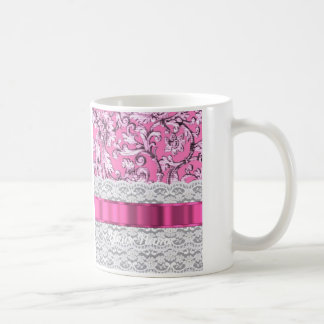 Modelo floral rosado del cordón taza de café