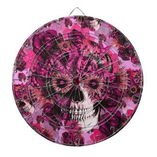 Modelo floral rosado del cráneo del ohmio tablero dardos