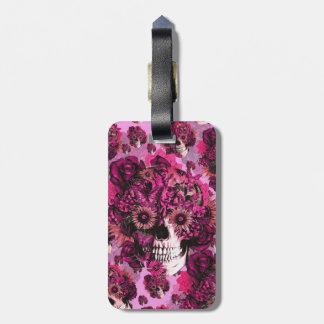 Modelo floral rosado del cráneo del ohmio etiquetas bolsa