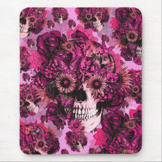Modelo floral rosado del cráneo del ohmio alfombrilla de raton