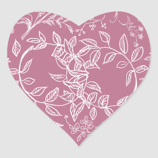 Modelo floral rosado del flor calcomanía corazón personalizadas