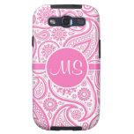 Modelo floral rosado del monograma de Paisley Galaxy S3 Fundas