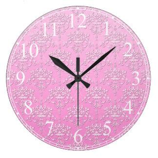Modelo floral rosado femenino del damasco relojes de pared