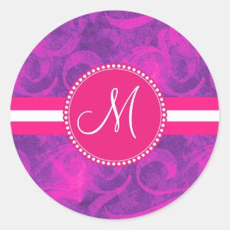 Modelo floral rosado púrpura del Flourish del Pegatina Redonda