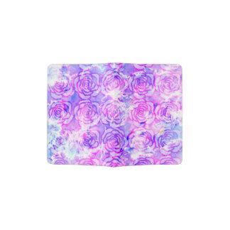 Modelo floral rosado, púrpura, y azul de la porta pasaporte
