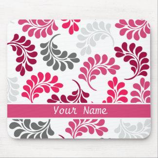 Modelo floral rosado rojo del monograma alfombrillas de raton