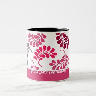 Modelo floral rosado rojo del monograma tazas de café