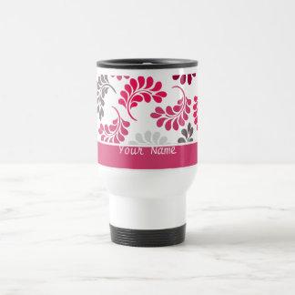 Modelo floral rosado rojo del monograma taza de café