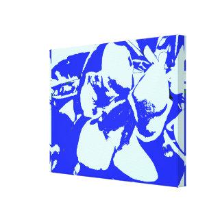 Modelo floral tropical de los azules del vintage impresiones de lienzo