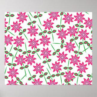 Modelo floral verde rosado abstracto moderno póster