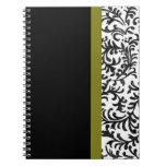 Modelo floral verde y negro del damasco cuaderno