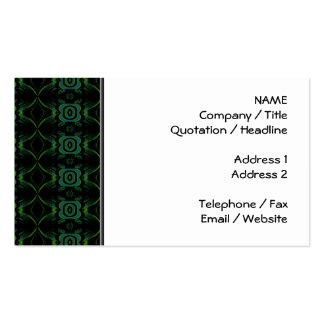 Modelo floral verde y negro tarjetas de visita