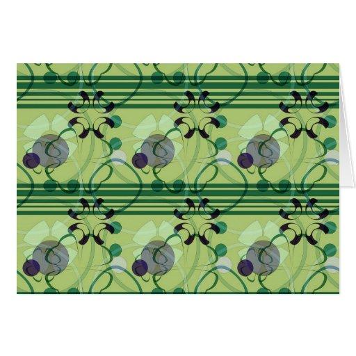 Modelo floral verde y púrpura de las rayas felicitacion