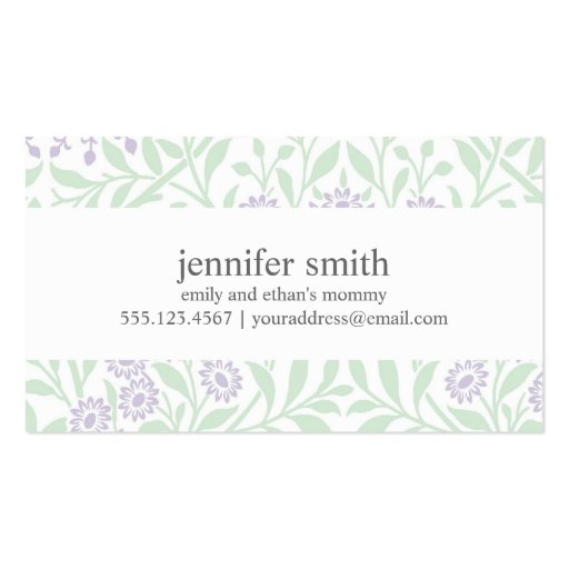 Modelo floral violeta y verde del damasco tarjetas de visita