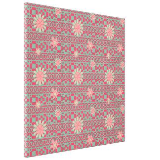 Modelo floral y geométrico de las formas impresión en lienzo estirada