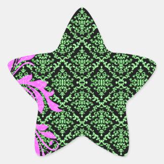 Modelo floral y verdoso rosado hermoso del damasco pegatina en forma de estrella