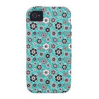 Modelo florido de la diversión azul blanca negra d vibe iPhone 4 carcasas
