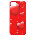 Modelo flotante de los corazones iPhone 5 fundas